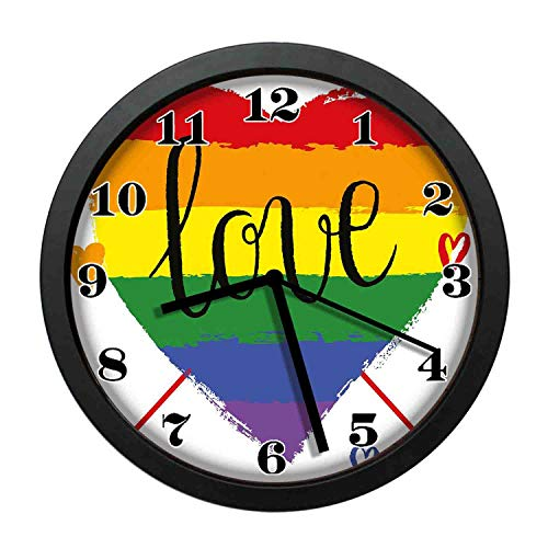 wojuedehuidamai6 Art Wall Clock- Hand Drawn Rainbow Heart with Arrows Doodles Love Valentines Word Special Day Decor Wall Clock for Home and Office with 10in