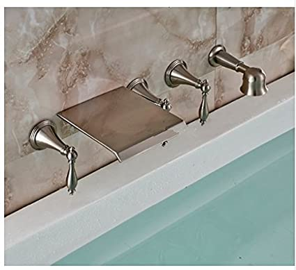 Amazoncom Gowe Wall Mount Waterfall Bathtub Faucet Brushed Nickel