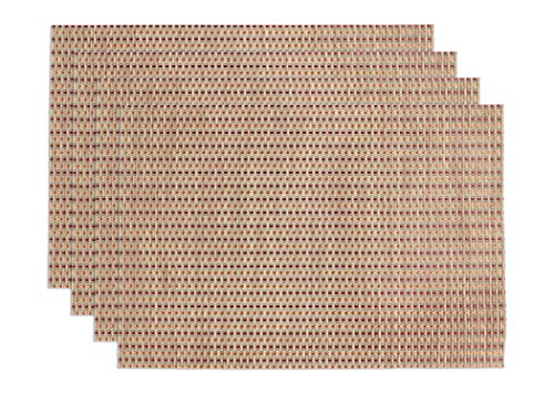 Ritz TechStyle Reversible Woven Open Basketweave Placemats, Tan/Orange/Rust, Set of 4