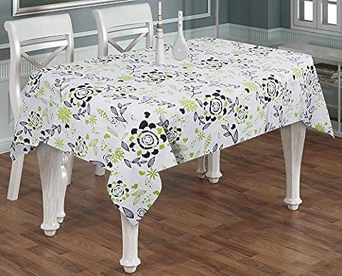 India Cotton Tablecloth Natural Linen Rectangle 6-Seater -100% Cotton Floral Tablecloth Rectangular Green Black -55