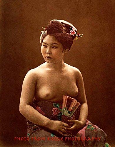 "Japanese Woman Topless Seated Holding Fan 8.5x11"" Print Nude Female Sexy Giesha"