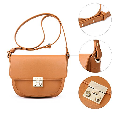ECOSUSI Women Crossbody Saddle Bags Shoulder Purse with Flap Top & Phone Pocket, Brown by ECOSUSI (Image #8)
