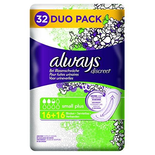 Always Discreet Inkontinenz Einlagen Small Plus Bei Blasenschwäche Vorteilpack, 1er Pack (1 x 32 Stück)