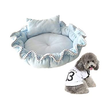 Aolvo Fancy cama para perro, transpirable, con forma de flor, almohada/colcha