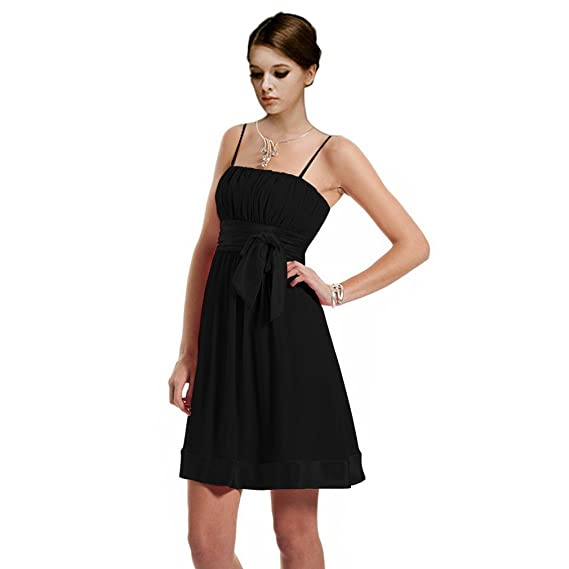 Dearta Womens A-Line Spaghetti Straps Short/Mini Cocktail Dress UK 6 Black