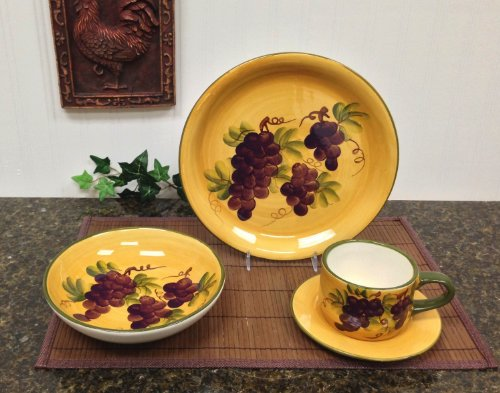16 pc Dinnerware Set, Dinner Set Tuscany Grape Wine Decor