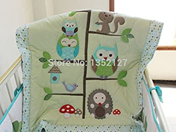 Amazon.com : happy owls animals applique embroidery crib quilt