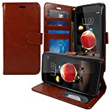 virgin lg tribute - LG Tribute Dynasty Wallet Case (SP200), LG Aristo 2 (X210) Wallet Pouch Flip Folio [Kickstand Feature] PU Leather Cover w/ ID&Card Slot Wrist Strap by Zase (Luxury Brown)