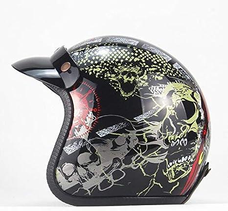 Black leather 2 X M MYSdd Vintage 3//4 Leather Helmet Faceless Bicycle Helmet Motorcycle Helmet Motocross Visor Detachable with Glasses Fixing Belt
