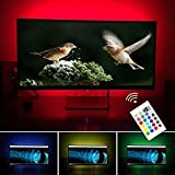 #2: Simptech LED TV Bias Lighting Backlight Strip for 32 to 60 Inch Flat HDTV, RGB Changing Color Strip Kit,USB Powered,Ambient Background Lighting for TV (32
