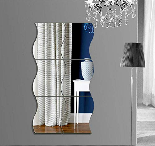 KimDaro 6Pcs Wave Combination Mirror Wall Stickers, Home Decoration Removable Stereo Children's Room DIY Mirror Wall Sheet, Living Room Bathroom Bedroom Sofa TV Wall Decor Decal (L, Silver) (Mirrors Room Living Wall)