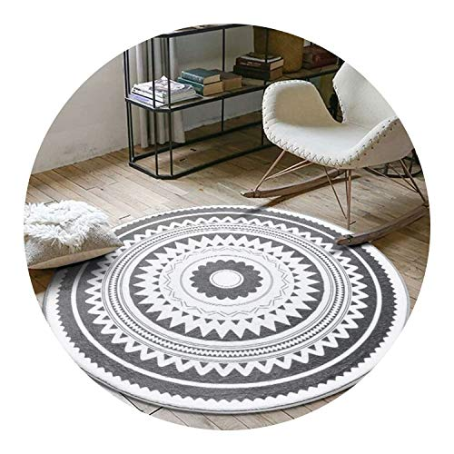 Nordic Gray Series Round Carpets for Living Room Computer Chair Area Rug,A,150cm Diameter