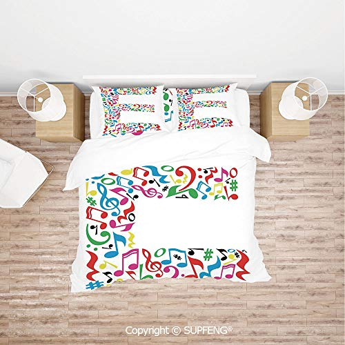 SCOXIXI 3D Bedding Sets Music and Language Themed Artistic Alphabet with Letter E Clef Caesura Note Signs (Comforter Not Included) Soft, Breathable, Hypoallergenic, Fade Resistant