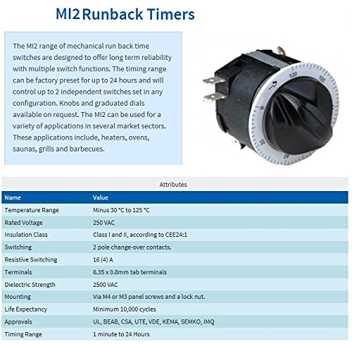 250v, 50/60 Hz Run Back Timer, 0-120 Minutes (MI2 Style) For Paint