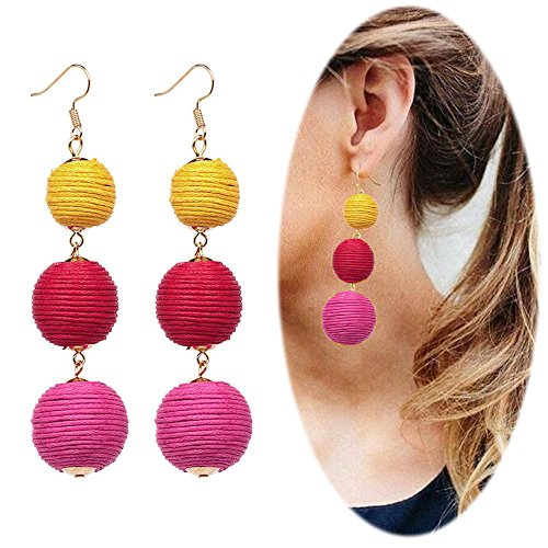 Hot Diamonds Diamond Huggie Earrings (Thread Ball Dangle Earrings Tassel Drop Earring Beaded Lantern Ear Studs Women Linear Tribal Charms Jewelry Yellow Red Rose Mixed)