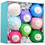8 Bath Bomb Gift Set - HUGE All Natural Assorted Essential Oil Bath Bombs - Infused with Essential Oils, Jojoba Oil, and Olive Oil for deep Moisturizing - Great Gift for Her
