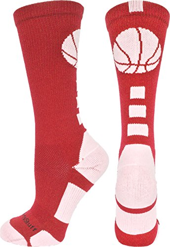 (MadSportsStuff Basketball Logo Crew Socks (Scarlet/White,)
