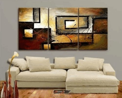 Amazon Com Zartsy 100 Hand Painted Abstract Landscape Yellow Color Block Black Line
