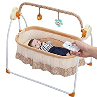 Electric Baby Bassinet Swing,Music Remoter Control Sleeping Basket Bed of Best Gift for mom(Brown)