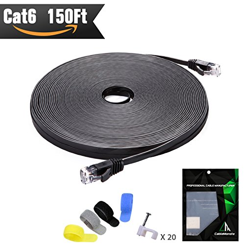 Cat 6 Ethernet Cable Black 150 ft (At a Cat5e Price but Higher Bandwidth) Flat Internet Network Cable - Cat6 Ethernet Patch Cable Short - Computer Lan Cable With Snagless RJ45 Connectors (Patch Cat5e 150' Cord)