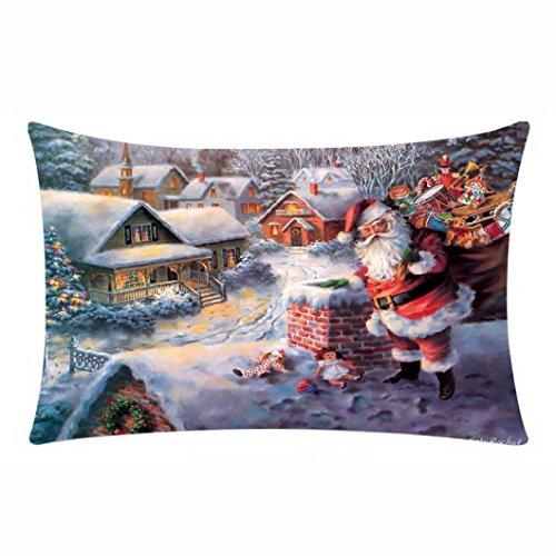 (Hot Sale!!! Happy Christmas Pillow Cases,Jushye Ladies Merry Christmas Pillow Cases Cotton Linen Sofa Cushion Cover Home Decor 11.8