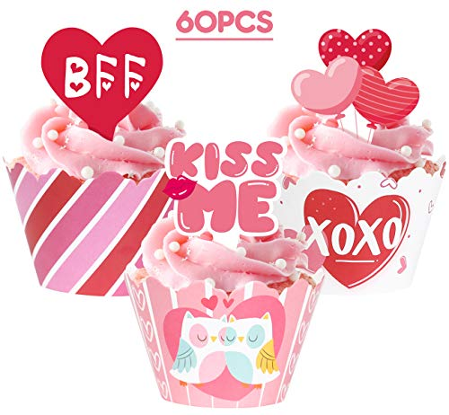Valentine's Day Cupcake Toppers Wrappers - Cake Decorations Party Supplies 60Ct]()