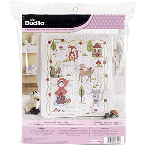 Bucilla Stamped Cross Stitch Crib Cover Kit, 34 by 43-Inch, 46300 Little Red Riding Hood