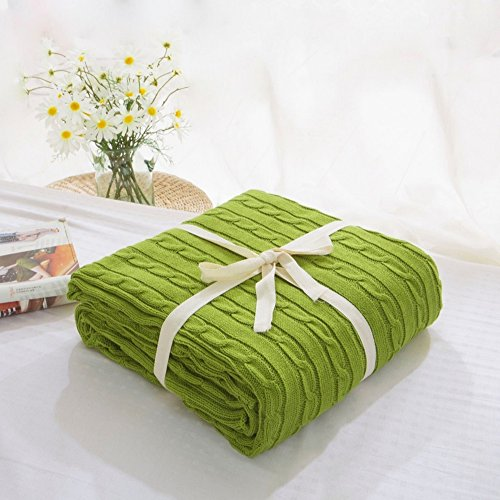 Blanket Handmade Crocheted Cotton Cable Knitting Super Soft Warm Sleeping Cover Blanket Rug for Kids or Adults Bedroom Quilt Living Room Office Sofa-Megach (110cm 180cm Deep Green)