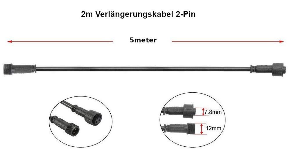 etc luces de jard/ín apto para interior y exterior Cable alargador de 12 V individual protecci/ón IP67 2meter para mini focos empotrables LED conector de 2 pines y conexi/ón de tornillo
