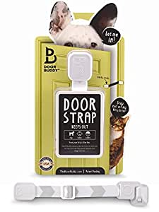 Door Buddy Adjustable Door Strap & Latch. Easy Way To Dog Proof Litter Box. No More Pet Gates Or Cat Doors. Convenient Cat & Adult Entry. No Tools Installation. Stop Dog Eating Cat Poop Today! (Grey)