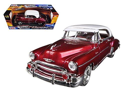 Motormax 79007 1950 Chevrolet Bel Air Metallic Dark Red Custom 1/18 Diecast Car Model