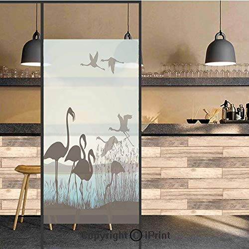 3D Decorative Privacy Window Films,Flamingo Silhouettes Walking Flying