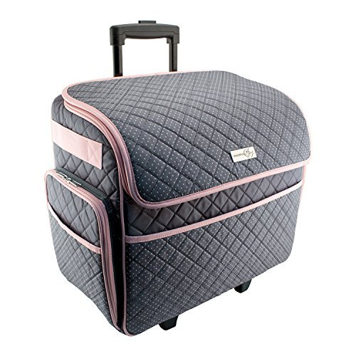 Everything Mary Deluxe Rolling Tote, Gray with Pink (Sewing Case)
