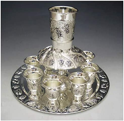 Silver Plated Wine Fountain 8 Small Cups one Big Cup Grapes Design