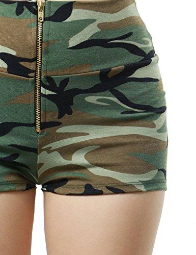Frontal Zip-up Closure Camo Military Design Fashion Short Pants for Women (LARGE, CAMO-BP93182)