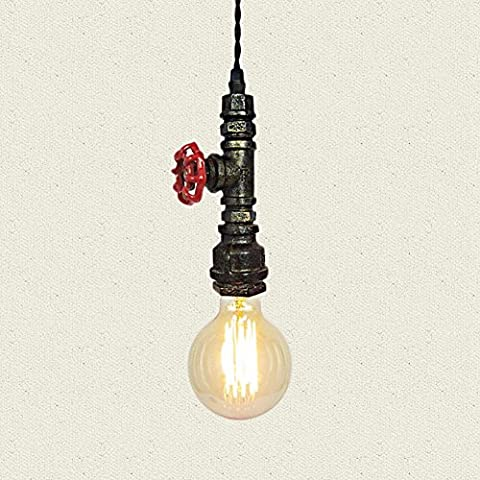 Injuicy Lighting Loft Vintage Industrial Retro Wrought Iron Water Pipe Steampunk Pendant Lights Shades Antique E27 Edison Metal Ceiling Lamps Fixtures for Balcony Stairs Cafe Bar in Rust Decor