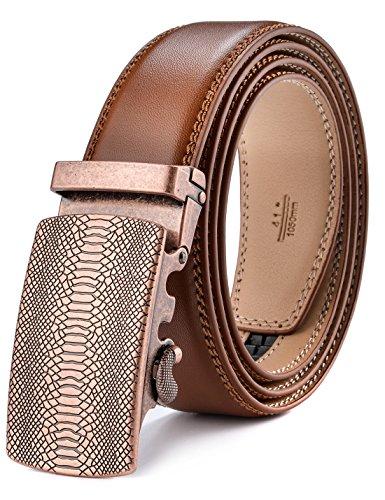 Fire Kirin Men's Leather Ratchet Dress Belt- Length is Adjustable - Delicate Gift Box (Waist Size:36-44