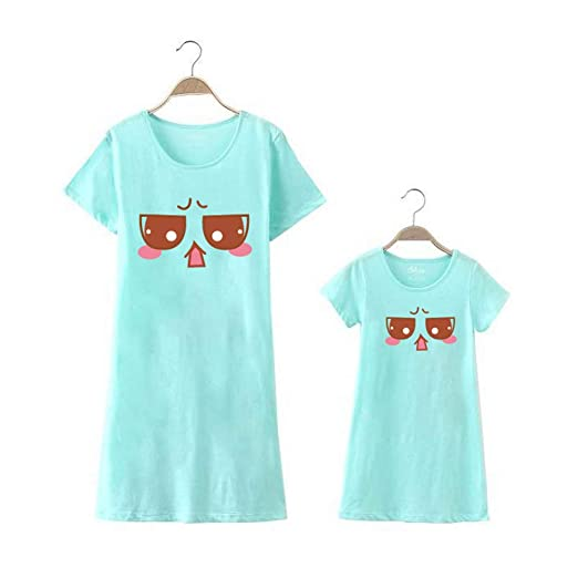 Mother and Daughter Summer Matching Dresses Family Matching Pajamas  Nightgown Dress (Light Green b279e73d27d8