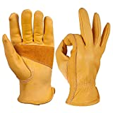 OZERO Flex Grip Leather Work Gloves Stretchable Tough Cowhide Working Glove 1 Pair (Gold, X-Large)