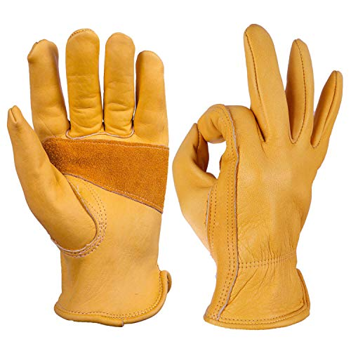 OZERO Flex Grip Leather Work Gloves Stretchable Tough Cowhide Working Glove 1 Pair (Gold, Large) ()