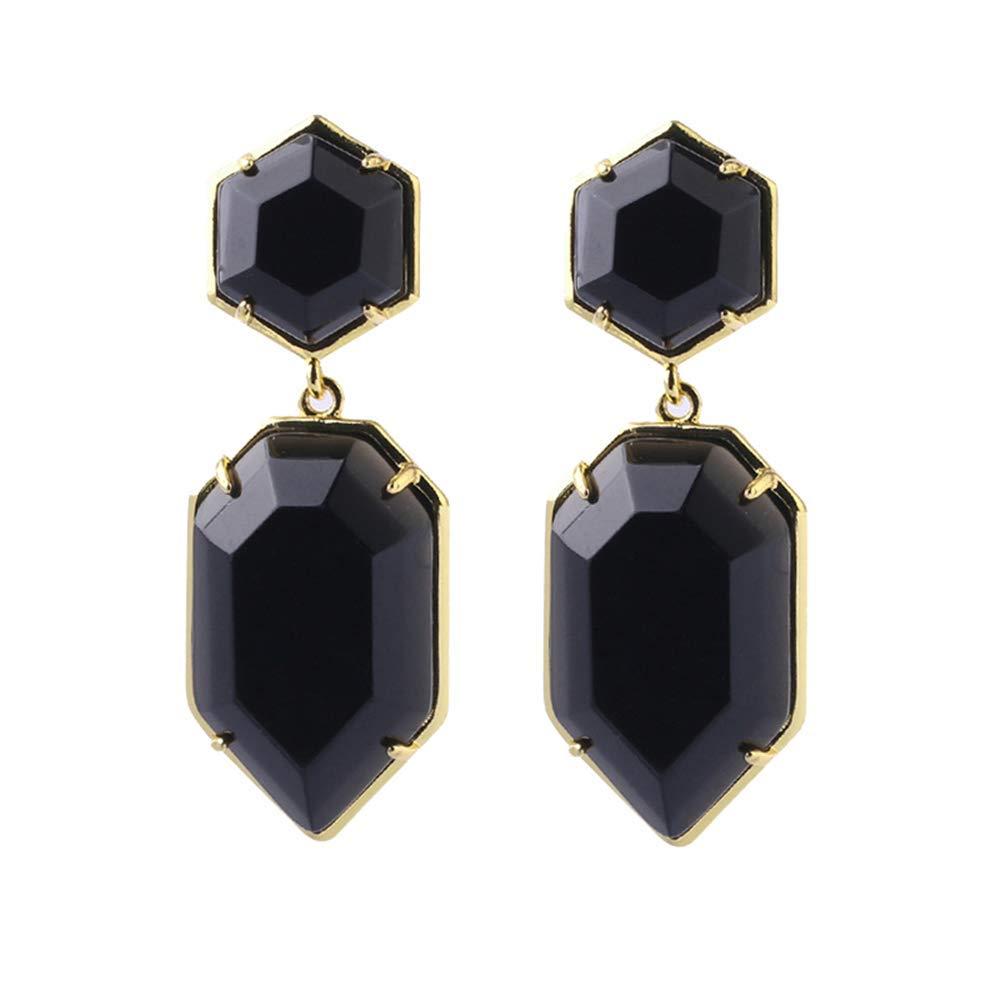 Purmy Agate Noire Cristal de gu/érison boucles doreilles clip