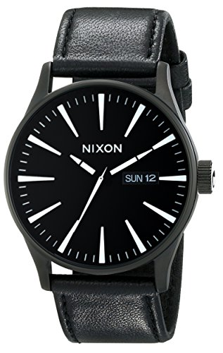 Nixon Mens A105 42mm Sentry Leather Watch