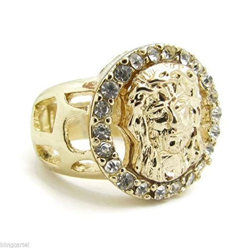Dancing Stone Jesus Face Round Ring Golden Tone Chunky Heavy Iced-Out Bling Head Hip Hop SZ 7-13 (Mens Golden Iced Out Rings)