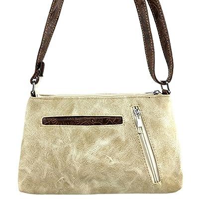 Justin West Gleaming Western Floral Embroidery Rhinestone Cross Shoulder Concealed Carry Handbag Purse