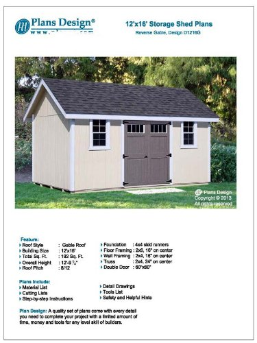 Project Plans for 12' x 16' Shed Reverse Gable Roof Style Design # D1216G, Material List and Step By Step Included