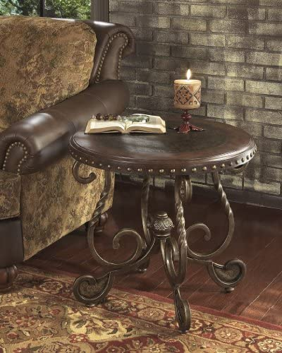 FurnitureMaxx Raff Nailhead Round End Table with Twist Square Legs