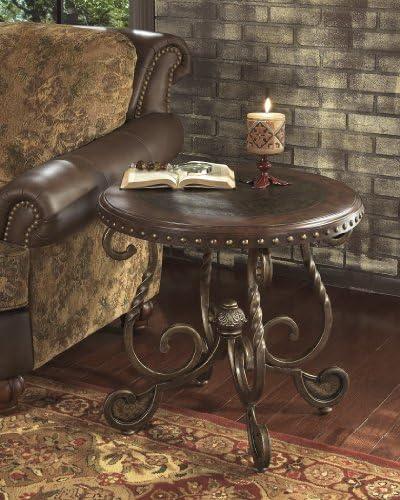 FurnitureMaxx Raff Nailhead Round End Table