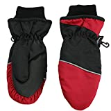 Nolan Boys Thinsulate Waterproof Colorblock Ski Mittens Black Red Small-Med 4-7