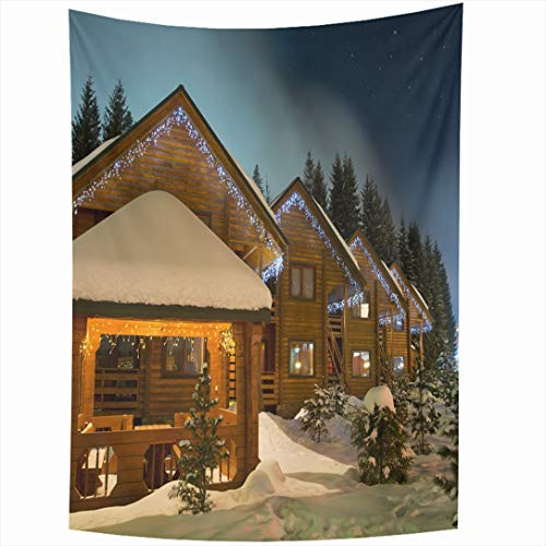 (Ahawoso Tapestry 60x90 Inch Sky Lodge Ski Chalets Night Nature Holidays Christmas Winter Hotel Roof Wall Hanging Home Decor for Living Room Bedroom Dorm)
