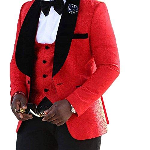 Yanlu Men's 3 Piece Suit Shawl Lapel One Button Wedding Groom Tuxedos by Yanlu